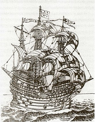 "Carrack - Famous nau Frol de la Mar (launched in 1501 or 1502), in the 16th-century ""Roteiro de Malaca""."