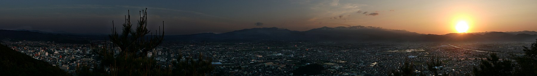 Sunset over Fukushima photographed from Mt. Shinobu