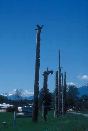 Gitwangak Battle Hill National Historic Site - The house poles erected between 1840 and 1842