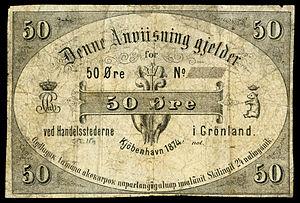 Greenlandic krone - Image: GRE A37 Greenland 50 Øre (1874)