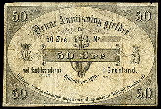 Greenlandic krone - Greenland, 50 Øre (1874), first year of issue for the Greenlandic krone. The uniface note (valued at half a krone) was issued in Denmark for use in Greenland. The note depicts the royal monogram of Christian IX of Denmark on the left and a small crowned polar bear on the right.
