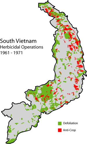 Herbicidal warfare - Map of herbicide usage during the Vietnam war.