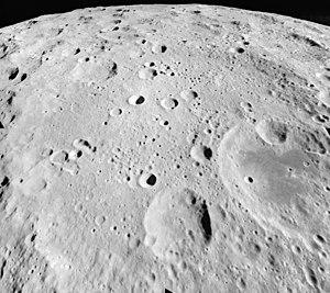 Gagarin (crater) - Oblique view facing south from Apollo 17