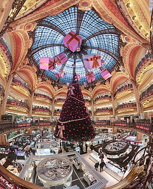 Dome and balconies of Galeries Lafayette store...