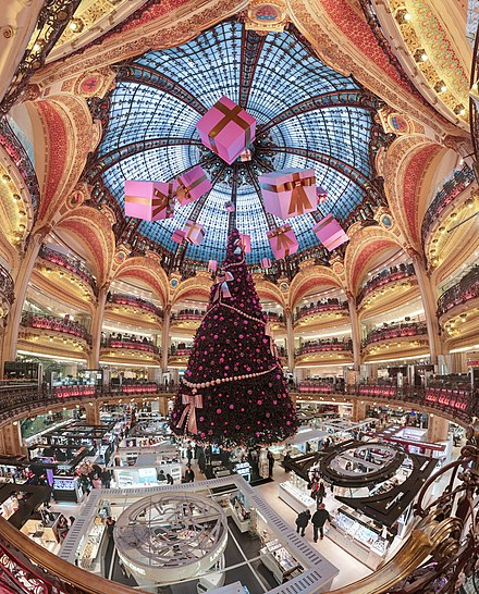 Christmas decorations at the Galeries Lafayette department store in Paris, France. The Christmas season is the busiest trading period for retailers. Galerie Lafayette Haussmann Dome.jpg