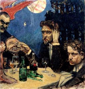 Jean Sibelius - Sibelius (right) socializing with Akseli Gallen-Kallela (the artist, left), Oskar Merikanto and Robert Kajanus
