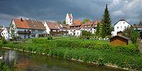 Gammertingen - Lauchert mit Stadtansicht und Kirche.jpg