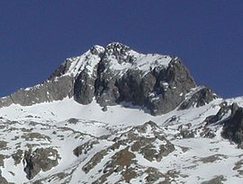 Cime du Gélas, in winter, from Vallon de la Madone de Fenestre