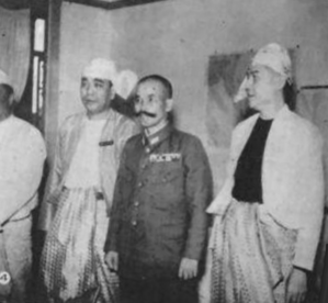 Masakazu Kawabe - General Masakazu Kawabe with puppet state burmese leaders during his time as commander of the Japanese Burma Area Army, Rangoon 1943.