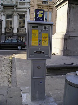 Trams in Ghent - Ticket vending machine on Brugsepoort stop (Route 4). This machine sells only single tickets.