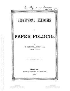 <i>Geometric Exercises in Paper Folding</i>