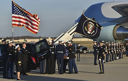 The casket carrying George H.W. Bush's remains arrives at Joint Base Andrews on December 3, 2018. George H.W. Bush state funeral.jpg
