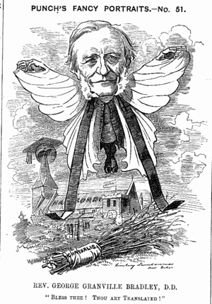 "George Bradley (priest) - Punch cartoon of Bradley, on his appointment to Westminster. The caption reads, ""Bless Thee! Thou Art Translated!"""