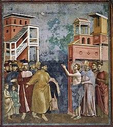 Uno degli affreschi della Leggenda di San Francesco ad Assisi