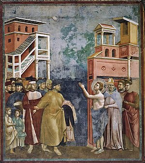 Giotto - One of the Legend of St. Francis frescoes at Assisi, the authorship of which is disputed.