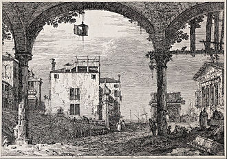 Canaletto - The portico with a lantern, from the series 'Vedute', c. 1740–44, etching