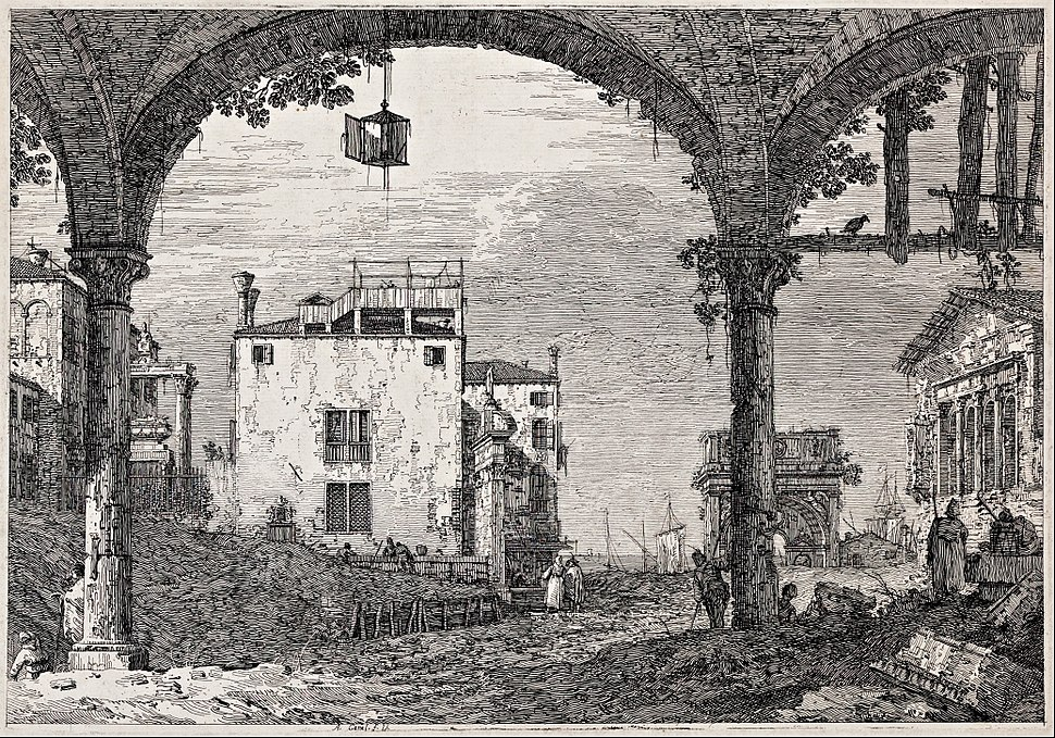 Giovanni Antonio Canal, il Canaletto - The portico with a lantern - from the series 'Vedute' (Views) - Google Art Project