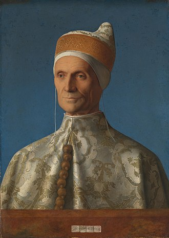 Doge - Leonardo Loredan (1501), Doge of Venice, by Giovanni Bellini, wearing the Corno Ducale, the ducal hat which symbolised his office