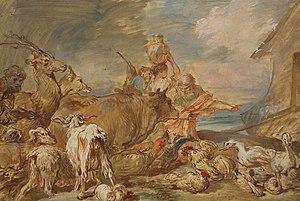 English: Noah Leading the Animals into the Ark...