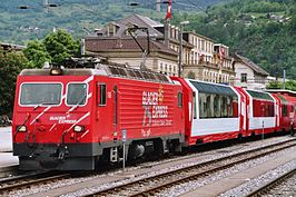 Glacier Express met HGe 4/4 106 op 9 september 2006 in Brig