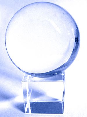 Crystal ball - Photograph of a quartz crystal ball of the type commonly used for divination or scrying