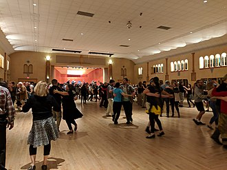 Contra dance - Contra dancers swing at a Friday night dance at Glen Echo Park in the suburbs of Washington, D.C.