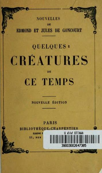 File:Goncourt - Quelques créatures de ce temps, 1878.djvu