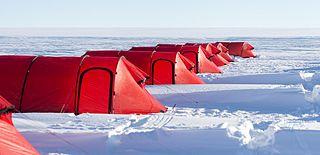 Camp in Gould Bay, Filchner-Ronne Ice Shelf, Antarctica, United States