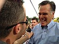 Governor Mitt Romney with campaign aide Mike Norris, after campaign rally in Port St. Lucie, Florida.jpg