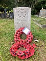 Gravestone of Warrant Officer Class II (C.S.M.) B.L. Preston of the Cheshire Regiment at Llandaff Cemetery, May 2020.jpg