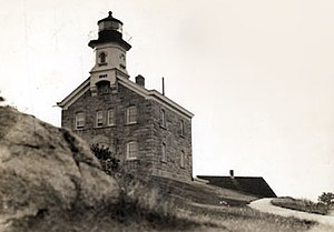 Great Captain Island Light - The light in 1935 (U.S. Coast Guard photo)