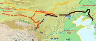 The Great Wall of the Han is the longest of all walls, from Mamitu near Yumenguan to Liaodong GreatWallOfHanDynasty.png
