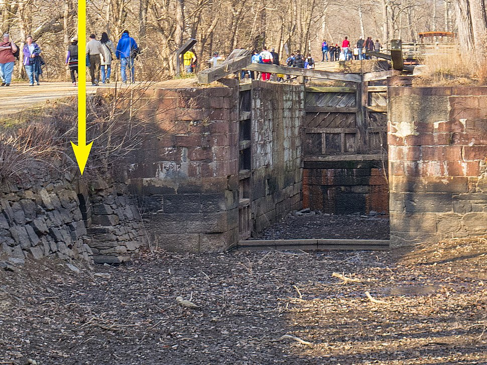 Great Falls Feeder Culvert and Lock 18 on Chesapeake and Ohio Canal, arrow indicating inlet culvert