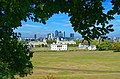 Greenwich Park - View NNW on Queen's House, Greenwich Hospital & Canary Wharf Docklands.jpg