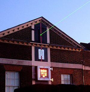 Prime meridian (Greenwich) - Laser projected from the Royal Observatory in Greenwich marking the Prime meridian.
