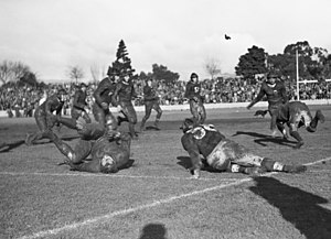 American football in Australia - A match in Adelaide as part of American Independence Day celebrations in 1942