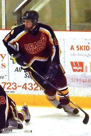 Niagara & District Junior C Hockey League - Grimsby player warming up during 2012 Schmalz Cup in Essex, Ontario.