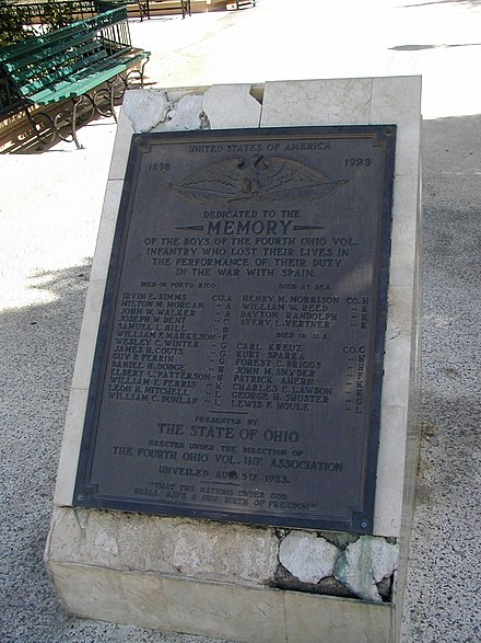 A monument in Guanica, Puerto Rico for the U.S. Infantry soldiers who lost their lives in the Spanish-American War 1898 Guanica, Puerto Rico monument to U.S. soldiers, Ohio Infantry, Spanish-American War 1898.jpg