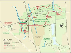 Guilford Courthouse National Military Park - A current map shows a larger battlefield. In particular, the American third line has been moved back, and the last shots of the battle have been placed further south, in Greensboro Country Park.