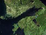 Фински залив на сателитском снимку