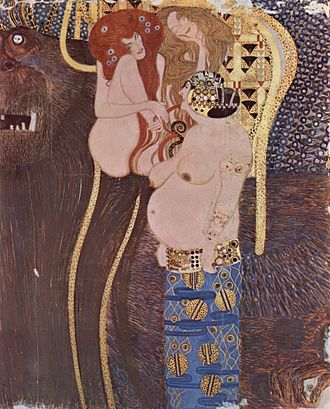 Gustav Klimt - A section of the Beethoven Frieze, at Secession Building, Vienna (1902)