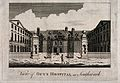 Guy's Hospital; the entrance courtyard, with a patient being Wellcome V0013709.jpg