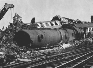 Harrow and Wealdstone rail crash - One of the overturned locomotives of the Liverpool train, No.46202 Princess Anne.