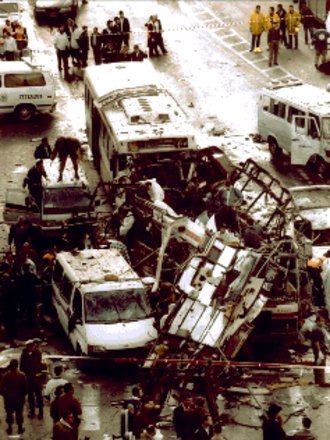 1996 in Israel - Aftermath of the Jaffa Road bus bombings. 26 people were killed in the Hamas suicide attack.