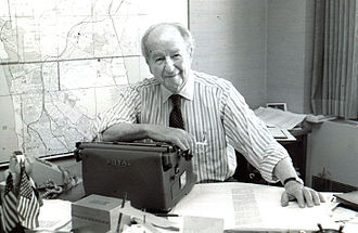 "Herb Caen - With his ""Loyal Royal"" in 1994"