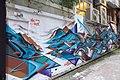 HK 上環 Sheung Wan 太平山街 Tai Ping Shan Street 水巷 Water Lane back Graffit wall painting blue dragon April 2018 IX2 01.jpg