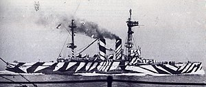 Ship camouflage - HMS London wearing dazzle camouflage in 1918