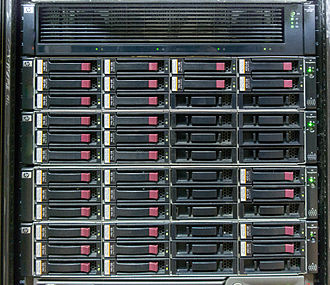 Disk array - HP EVA4400 storage array, consisting of 2U controller enclosure (top) and 4 2U disk shelves