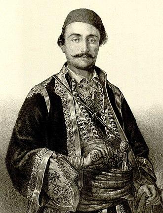 Hajduk-Veljko - Veljko Petrović, lithograph by A. Jovanović in 1852.