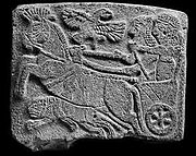 Hunting scene relief in basalt found at Tell Halaf, dated 850–830 BC